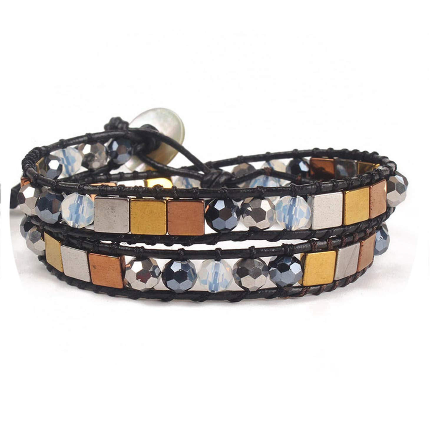 Unique Charming Bracelet Handmade Weaving Leather Wrap Colorful Square Iron Stone Beads Bracelet fo