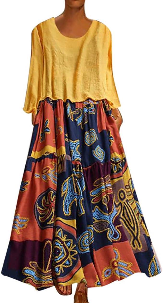 Leinen Kleider Mode Damen Freizeitkleider Plus Size Sommerkleid Patchwork  Blusenkleid Zweiteilige Oansatz Tuchkleid Bohemian Print Vintage Maxi-Kleid