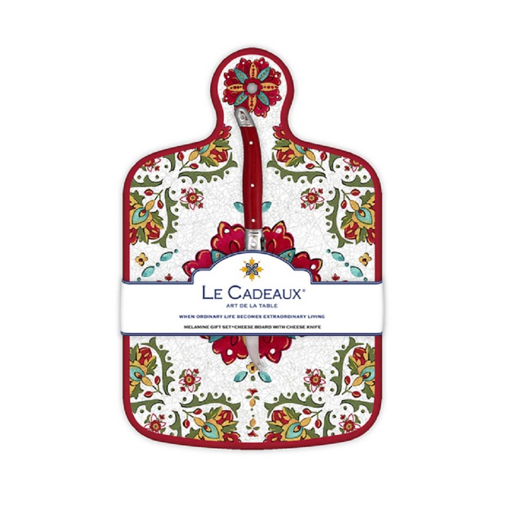 Le Cadeaux Allegra Cheese Board With Knife, Red