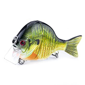 FOVONON Blue Gill Panfish for Bass Fishing Lure, Multi Jointed Topwater  Life-Like Sunfish, Trout Swimbait, Hard CrankBaits