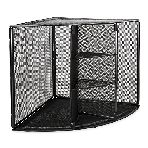 Eldon 62630 Mesh Collection Corner Desktop Shelf, Black