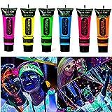 Amareu Glow in Dark Body Paint Body&Face Glow Backlight Neon Fluorescent 0.35oz Set of 6 Tubes