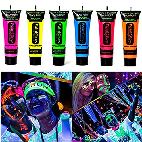 Amareu Glow in Dark Body Paint Body&Face Glow Backlight Neon Fluorescent 0.35oz Set of 6 Tubes - Dark Face Paint