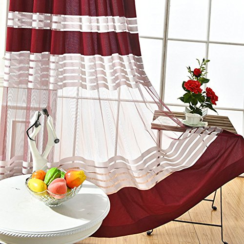 ASide BSide Chic Style Sheer Curtains Rod Pocket Color Block Striped Transparent Window Decoration For Sitting Room Houseroom and Children Room (1 Panel, W 52 x L 84 inch, Wine Red) by ASide BSide