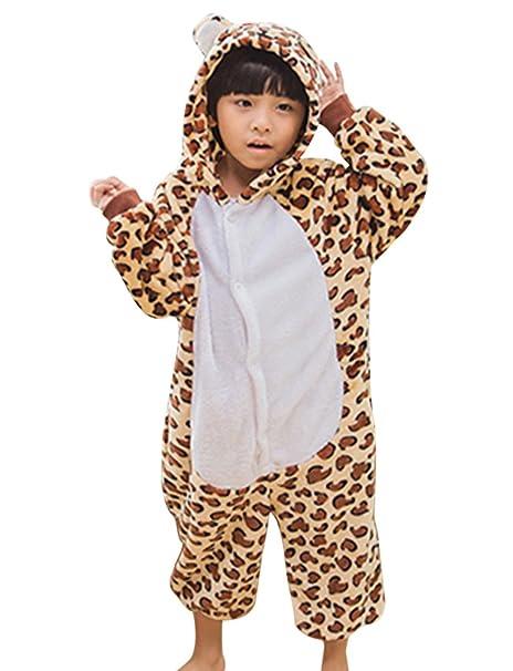 MissFox Kigurumi Pijamas Unisexo Niños Traje Disfraz Niños Animal Pyjamas Leopardo 115