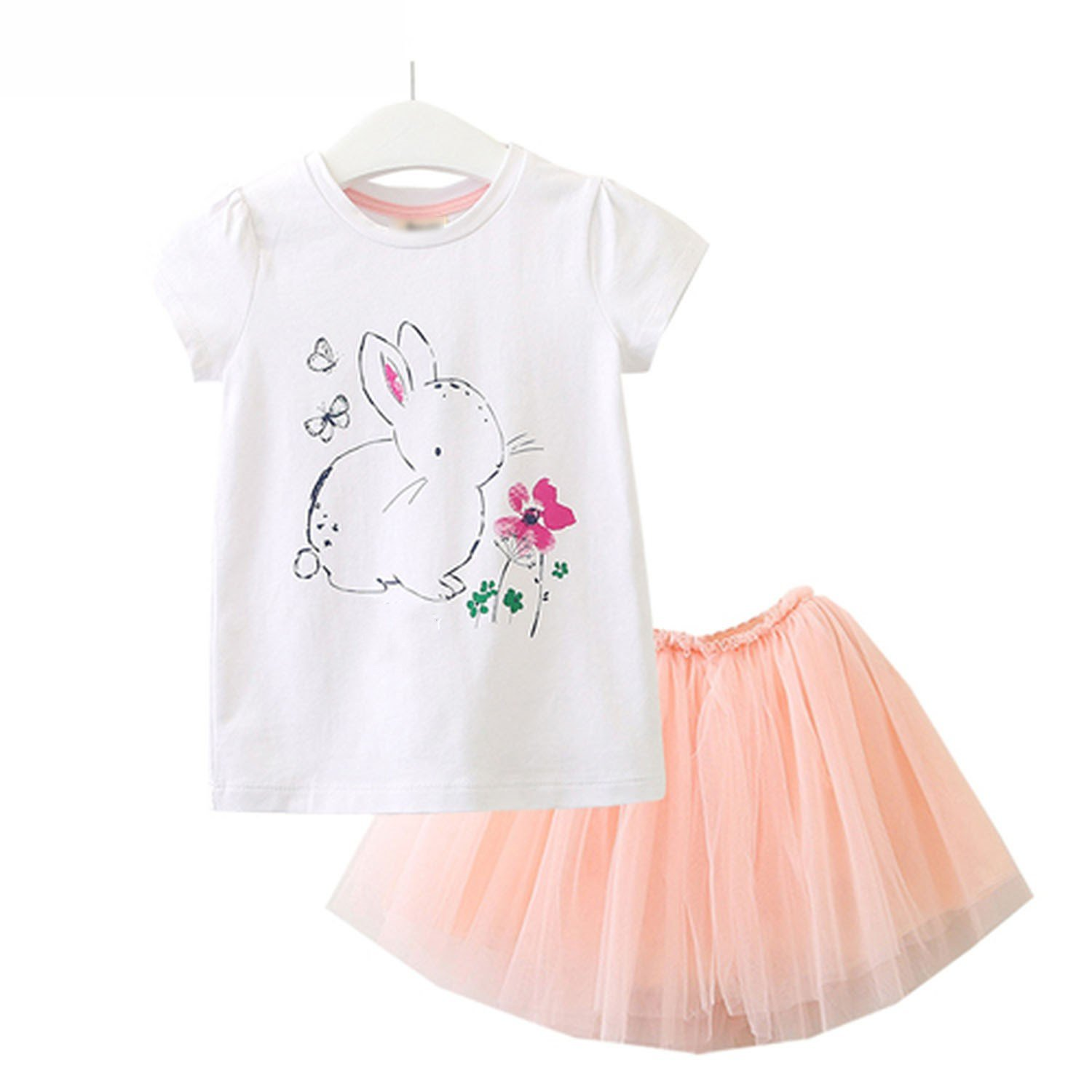 Zcaosma Baby Girls Clothes Cartoon Printing Girls Clothing Sets Girl Tops+Skirt,White,Чт