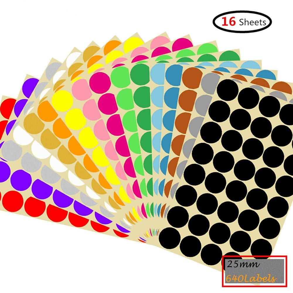 Karten-Aufkleber Schule Runde Punkt-Aufkleber,25mm Selbstklebende farbige Punkte 640 Kleine runde Aufkleber 16 Farben f/ür B/üro Kalender