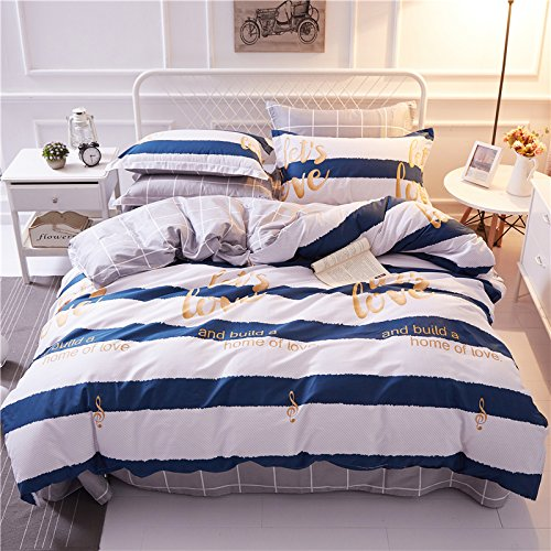 TheFit Paisley Textile Bedding for Young Adult W552 Blue Striped Love Home Duvet Cover Set 100% Cotton, Queen Set, 4 Pieces by TheFit