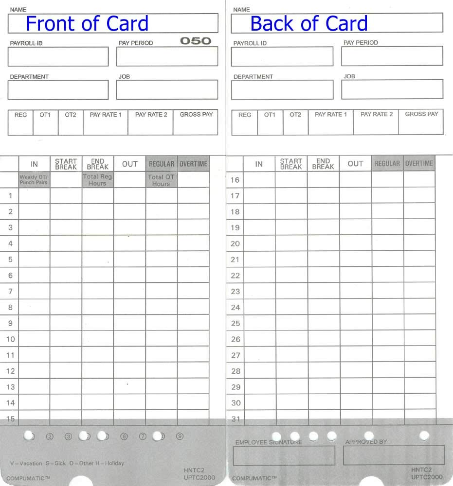 400 Time Cards for uPunch HN4000 AutoAlign Calculating Time Clock and More by COMPUMATIC