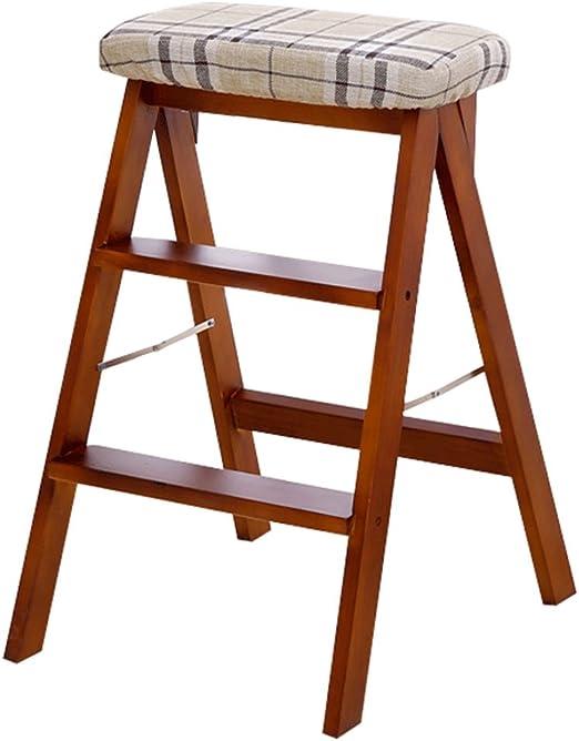 Taburetes Escalera plegable, trona multifuncional Escalera portátil de madera Cocina Taburete seguro Bar Escalera plegable Banco Balcón Escalera de madera maciza (Color : Brown , Size : 42*49*63cm) : Amazon.es: Hogar