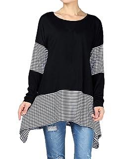 8e220fa93f9b Mordenmiss Women s Stripes Asymmetry Tunic Swing Flowy Plain T-Shirt Top