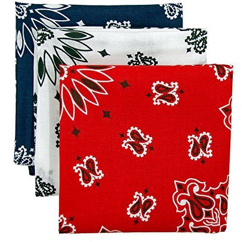 Bandana 3-Pack - Made in USA For 70 Years - Sold by Vets - 100% Cotton -Sewn Edges ()