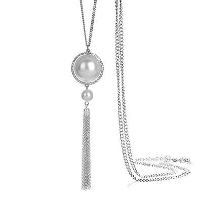 c5c60643ba95 ONNEA Collares Plata Largos con Colgante Perlas Borla para Mujer (Borla  Perla)