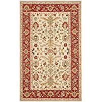 Safavieh Chelsea Collection HK751C Hand-Hooked Ivory and Red Premium Wool Area Rug (53 x 83)