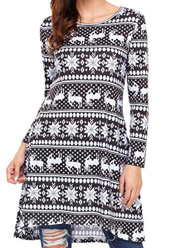 Women's Warm Christmas Dress Black Midi Party Snow Long Jaycargogo Swing Sleeve aUTHT