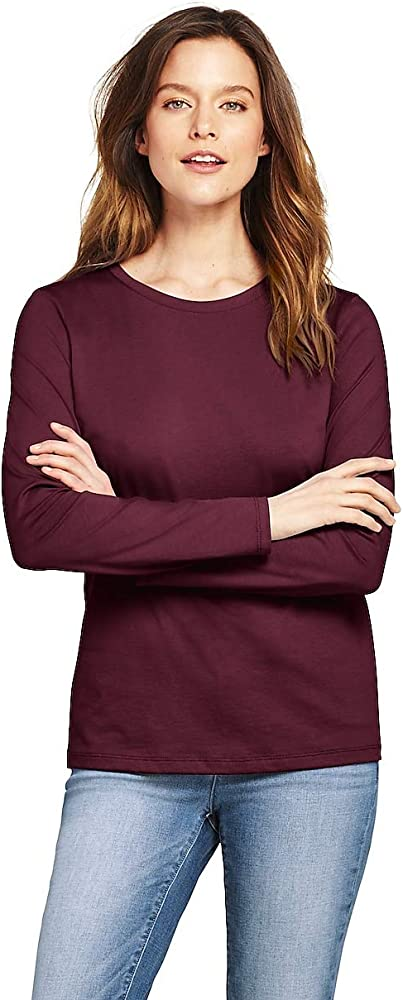 79f727f78cd8 Lands' End Women's Supima Cotton Long Sleeve T-Shirt - Relaxed Crewneck, XS
