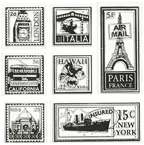 Inkadinkado Travel Postage Stamps Inchie Clear Stamp Sheet with Block, 4