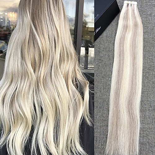 Full shine 18 50g tape in hair extensions highlighted color18 full shine 18 50g tape in hair extensions highlighted color18 with blonde color seamless skin weft adhesive tape real human hair skin weft pmusecretfo Images