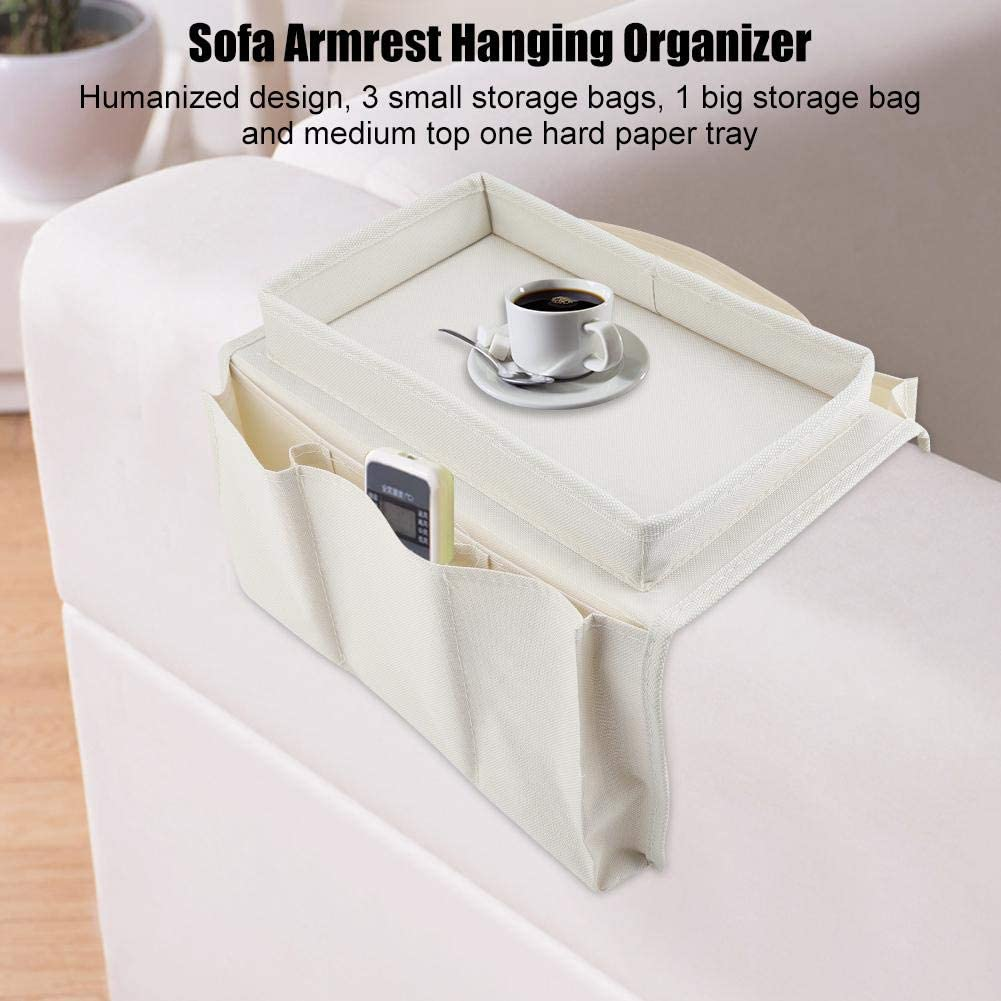TV Remote Control Sofa Couch Chair Armrest Armchair Caddy Organizer Non Slip Hanging Holder Storage Bag Beige