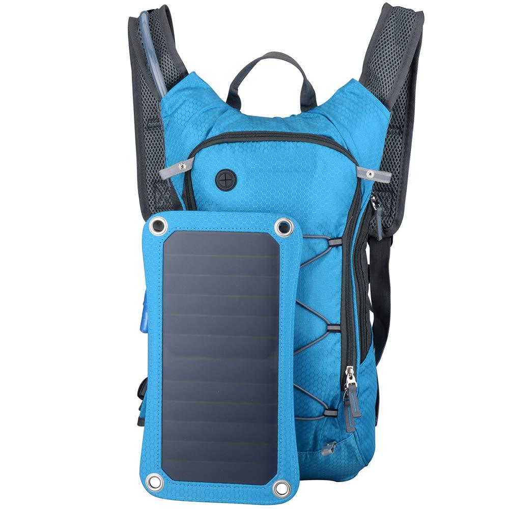 カジュアルアウトドアバッグを充電ソーラー充電リュック、屋外乗馬多機能スポーツバックパック、男性と女性の軽量 青