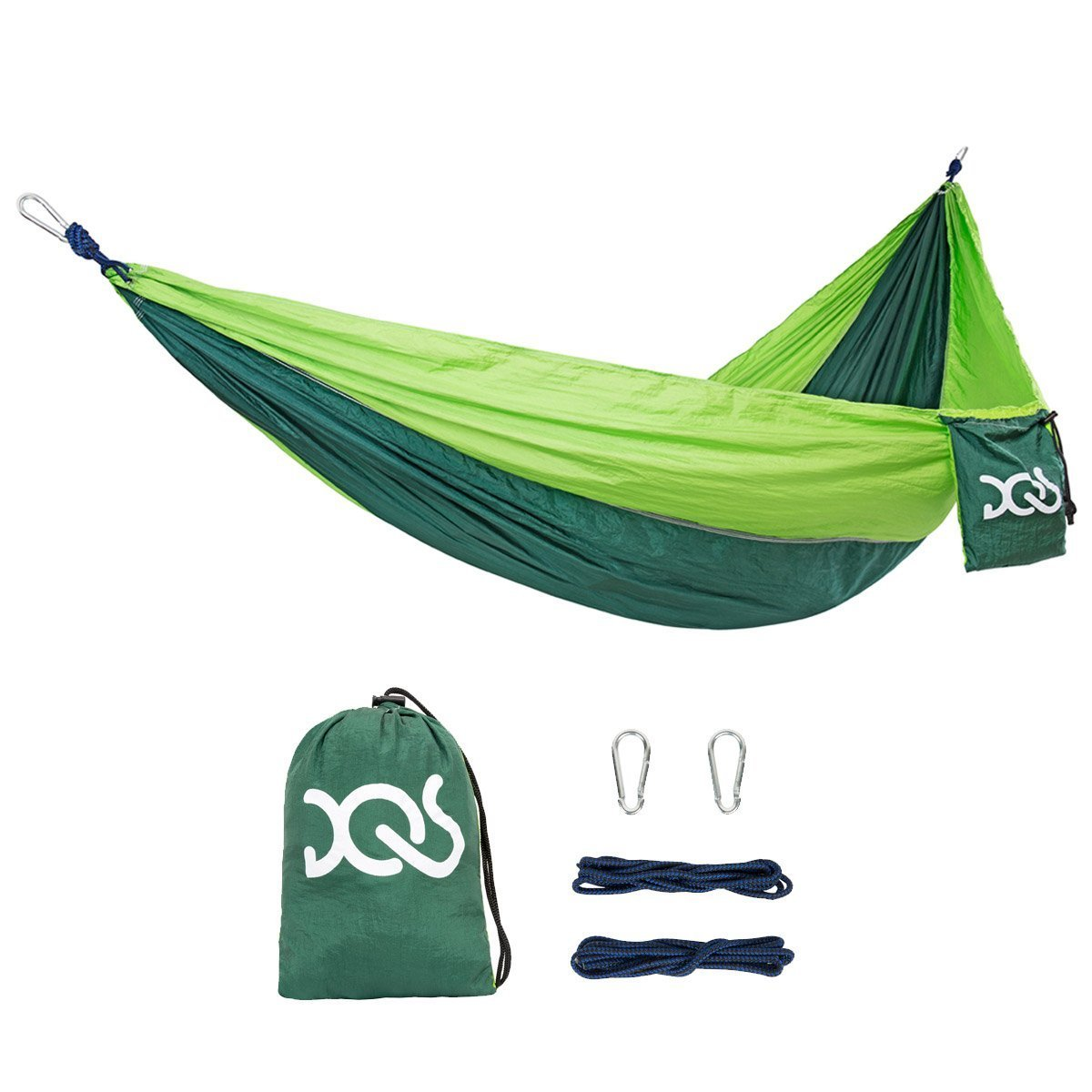 DQS Double Camping Hammock, Portable Lightweight Parachute Nylon Fabric Hammock,600 lbs Capacity, for Outdoor, Camping, Backpacking, Travel, Garden, Yard, Beach, Swing, Any Adventure by DQS
