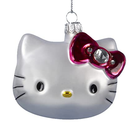 Hello Kitty Kurt Adler 3 Inch Glass Head Ornament