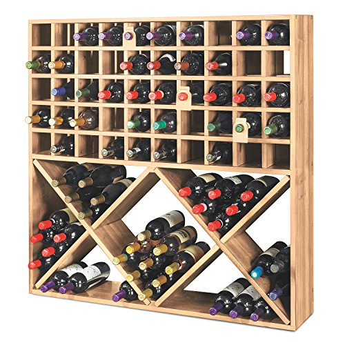 Jumbo Bin Grid 100 Bottle Wine Rack - Unstained 100 Bottle Wine Rack