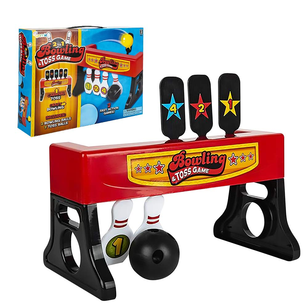 Gamie 2-in-1 Bowling and Tossing Game for Kids - Fun Indoor Carnival Game - Includes Base, Balls and Stickers - Durable Plastic - Cool Party Activity - Toss and Bowl Game for Toddlers, Boys, Girls by Gamie