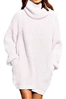 dcfe1c056b1 ALBIZIA Women s Oversize Turtleneck Chunky Knitted Pullover Sweater Dress