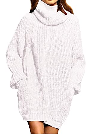 76936e8c80 ALBIZIA Women's Oversize Turtleneck Chunky Knitted Pullover Sweater Dress