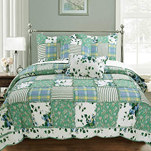 Cozy Line Home Fashions Greenfields Real Patchwork Quilt Bedding Set, 3D Green Garden Lace Leaf Flower Printed, 100% Cotton Reversible Bedspread Coverlet for Women (Green Garden, King - 3 Piece) from Cozy Line Home Fashions