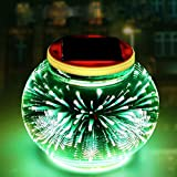 Mosaic Glass Solar Table Light,WONFAST Waterproof Color Changing Mood Night Lights Solar Outdoor Table Lamp for Bedroom Party Garden Patio Yard Decoration Lighting (3d Fireworks)
