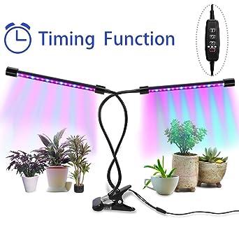 18W LED Pflanzenlampe Dimmbar Pflanzenlicht Wachstumslampe Gemüse Doppelkopf DE