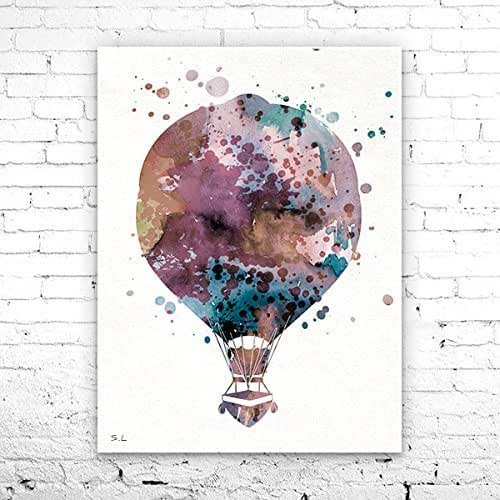 Amazon.com: Hot Air Balloon 3 Watercolor Print, Home Decor