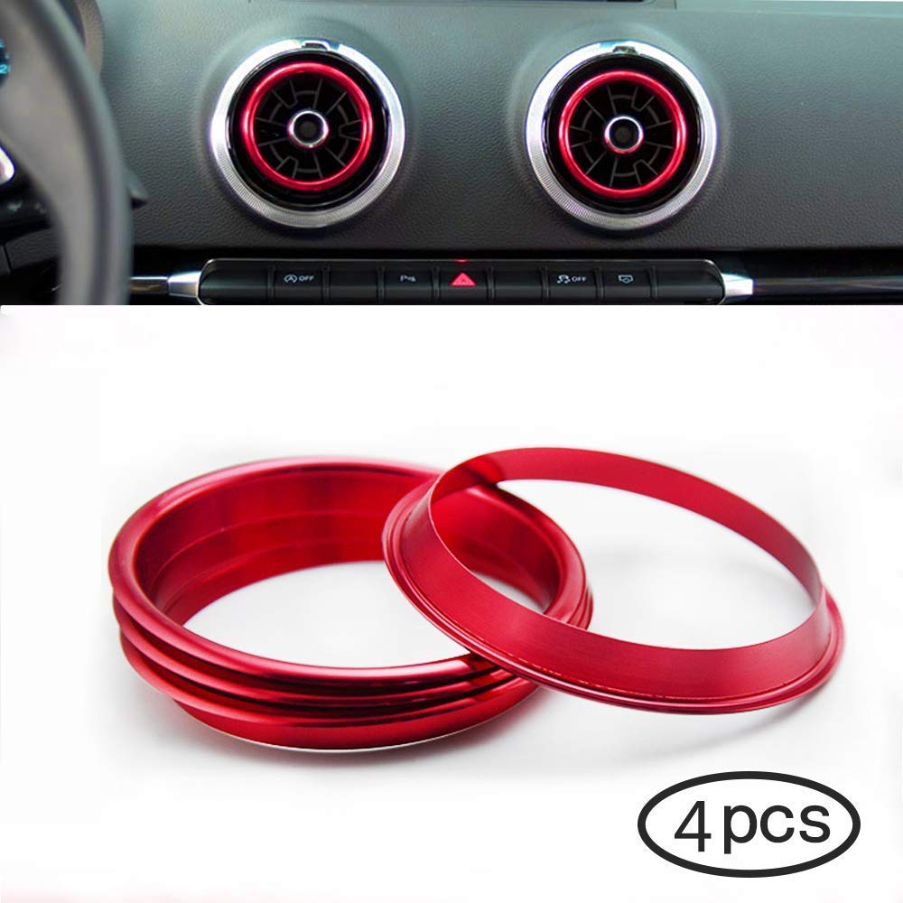 Freenavi Air Conditioning Ring Cover Air Exit Cover Decoration Sticker for Audi A3 S3 2013-2016 / Q2 2017 Accessories, Car-Styling 4pcs (Red)