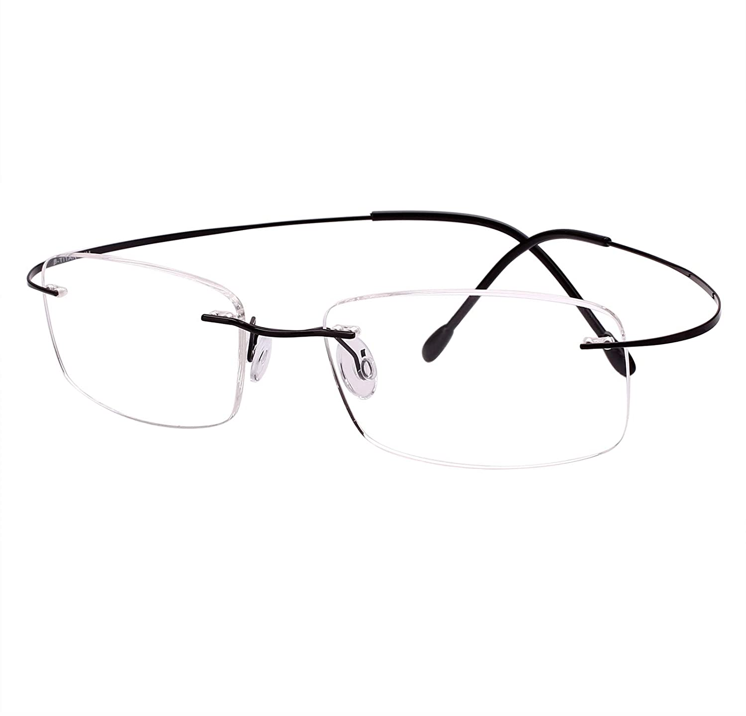 Agstum Pure Titanium Rimless Frame Prescription Hingeless Eyeglasses Rx 55) AG102