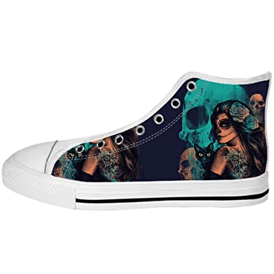 Women's Canvas High Top Shoes Day of the Dead Design