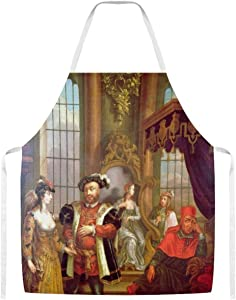 Henry VIII Introducing Anne Boleyn at Court Home Kitchen Cooking Grill Aprons for Women Men Chef
