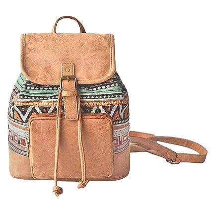 fcc61785b0 Amoyie Sacs à main portés dos femme en cuir et toile, sacs à dos loisir