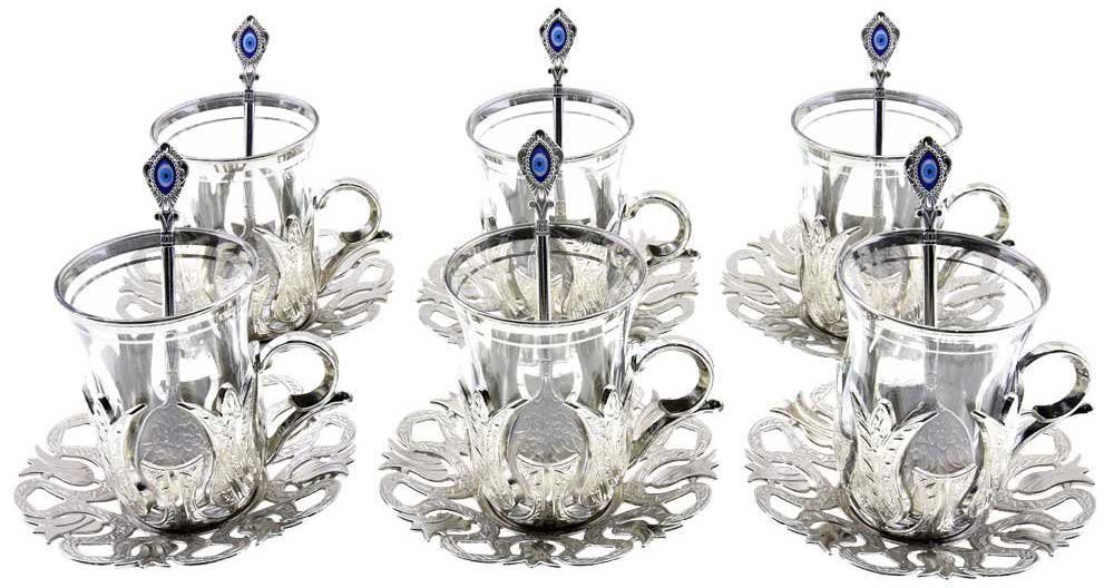 25 Pieces Tea Glasses with Holders Spoons and Saucers Set of 6 - Vintage Tulip Design