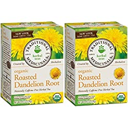 Traditional Medicinals Organic Roasted Dandelion Root Herbal Tea 16 Tea Bags Each / Pack of 2