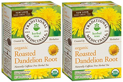 Organic Dandelion Root Tea Bags - Traditional Medicinals Organic Roasted Dandelion Root Herbal Tea 16 Tea Bags Each / Pack of 2