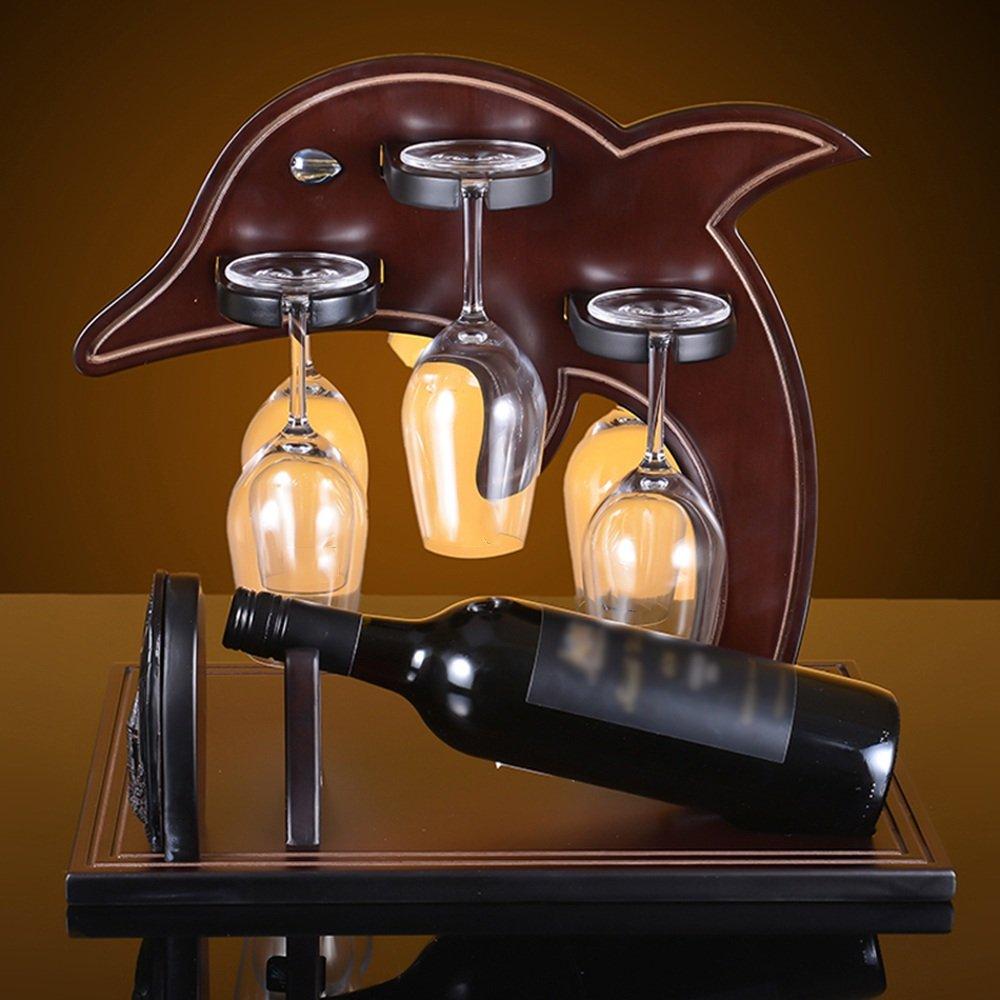 Feifei Wine Racks Dolphin Shape Solid Wood Creative Wine Cabinet Decoration Living Room Restaurant Home Practical Wine Rack