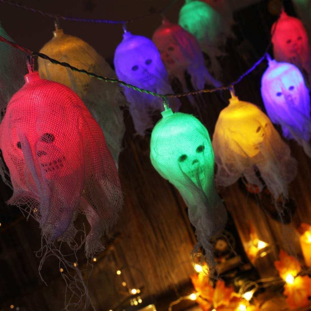 AODINI Halloween Decorations, 10 LEDs Battery Operated Skull Halloween String Lights with 2 Lighting Modes (Steady-on/Flash) for Festival, Party, Indoor Outdoor Halloween Decor (Multi-Color)