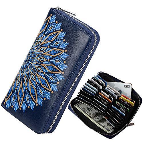 Ricdecor Credit Card Wallet Women RFID Blocking Card Case Wallet Leather Credit Card Holder