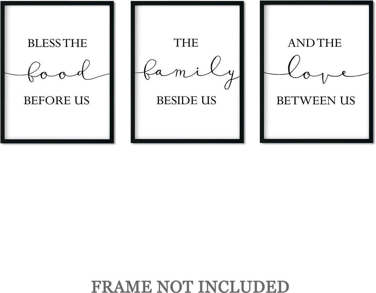 Bless the Food Before Us Wall Art Print Decor - Set of 3-11x14 unframed prints