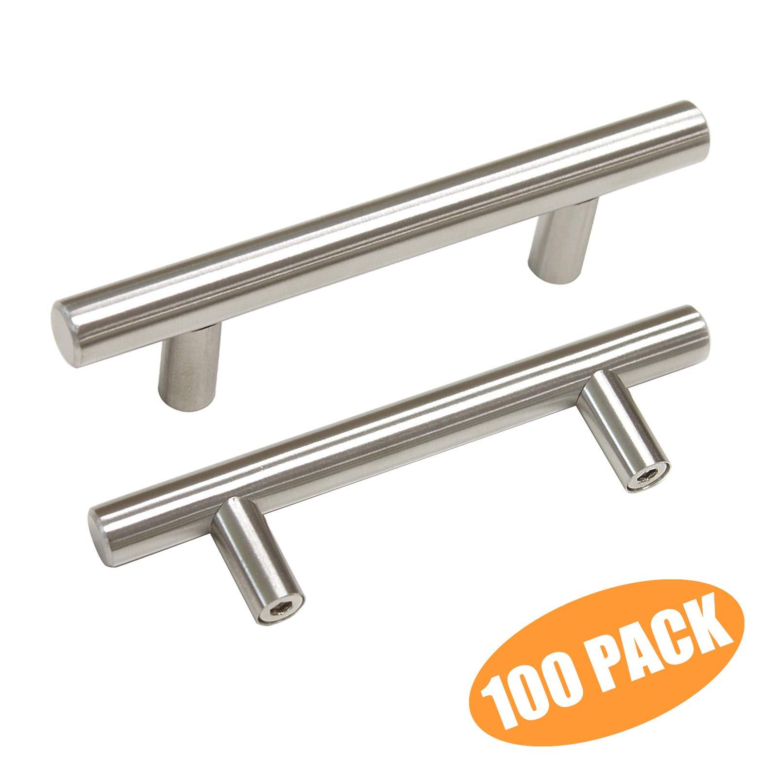 Probrico 3'' Hole Centers Euro T Bar Cabinet Pulls Satin Nickel Kitchen Cabinet Hardware Stainless Steel Bathroom Bedroom Dresser Drawer Knobs Handles(100 Pack)