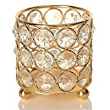VINCIGANT Round Gold Crystal Candle Sleeves Holders for Jar Candles Coffee Table Decorative Centerpiece Tealight Holders/Modern Gifts for Anniversary Celebration