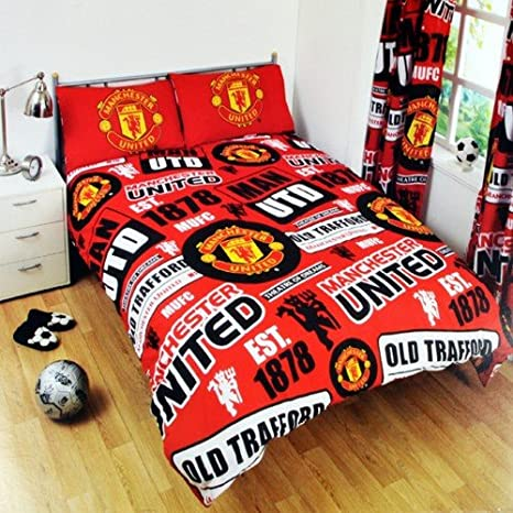 Manchester United FC Childrens/Kids Official Patch Football Crest Duvet Set (Full) (Red) UTSG3551_2