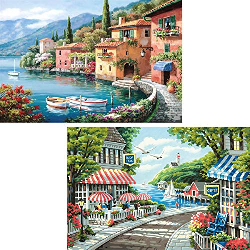 Ginfonr 5D DIY Diamond Painting Mediterranean Sea & European Landscape for Adults Full Drill by Number Kits, Scenery Paint with Diamonds Art Craft Embroidery Rhinestone Decor (12 x 16 inch)